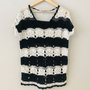 Free People Crochet Knit Short Sleeve Sweater